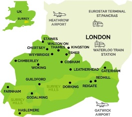Map Of Surrey Surrey Maps   Official tourism website for Surrey Map Of Surrey