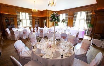 Savill Court - wedding breakfast in the Library