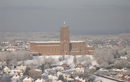 Guilford Cathedral in the snow