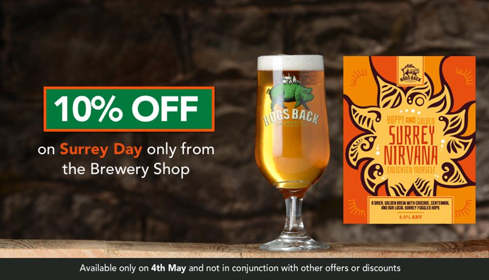 10% off Surrey Nirvana on Surrey Day from Hogs Back Brewery Shop