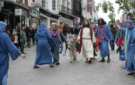 Passion play in Guildford High Street